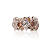 Cognac & White Diamond Eternity Ring