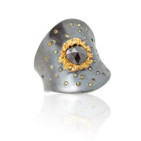Concave Black & Gold Ring