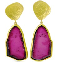 Tourmaline Slice Earrings