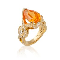 Pear Spessartite Ring