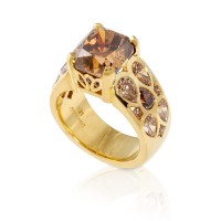 Cushion Cut Cognac Diamond Ring
