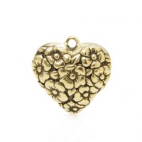 Heart with Flowers Charm
