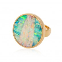 Opal Inlay in Round Ring