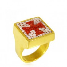 Coral Cross Ring