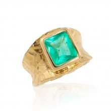 Bufftop Emerald Ring