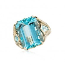 Aqua & Diamond Ring