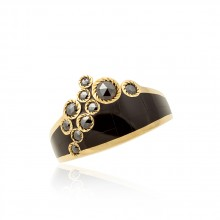 Black Jade and Diamond Ring