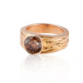 Cognac in Rose Gold Ring