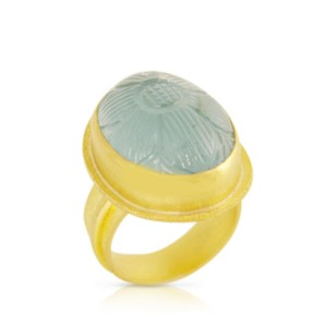 Carved Aquamarine Ring