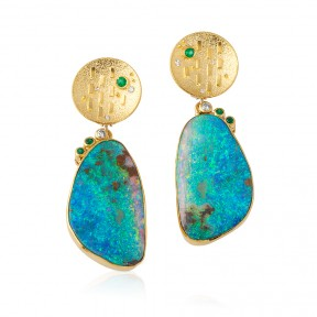 Boulder Opal & 22 Karat Earrings