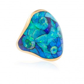 Spiral Inlay Opal Ring