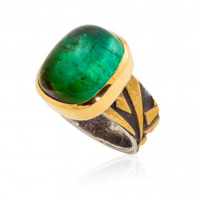 Green Tourmaline Bamboo Ring